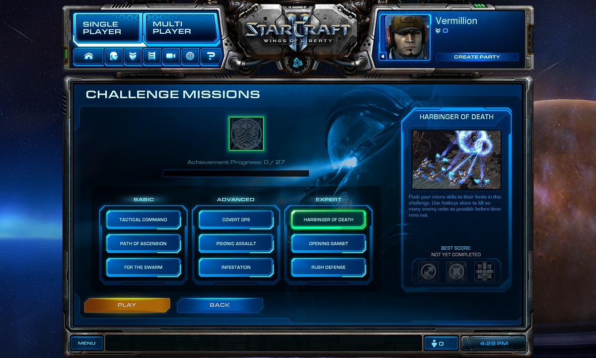 Challenge Mission Interface