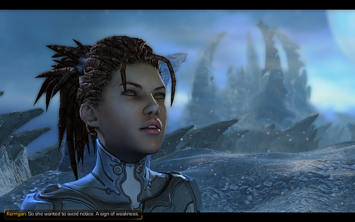 Sarah Kerrigan on the ice world Kaldir in Starcraft 2: Heart of the Swarm