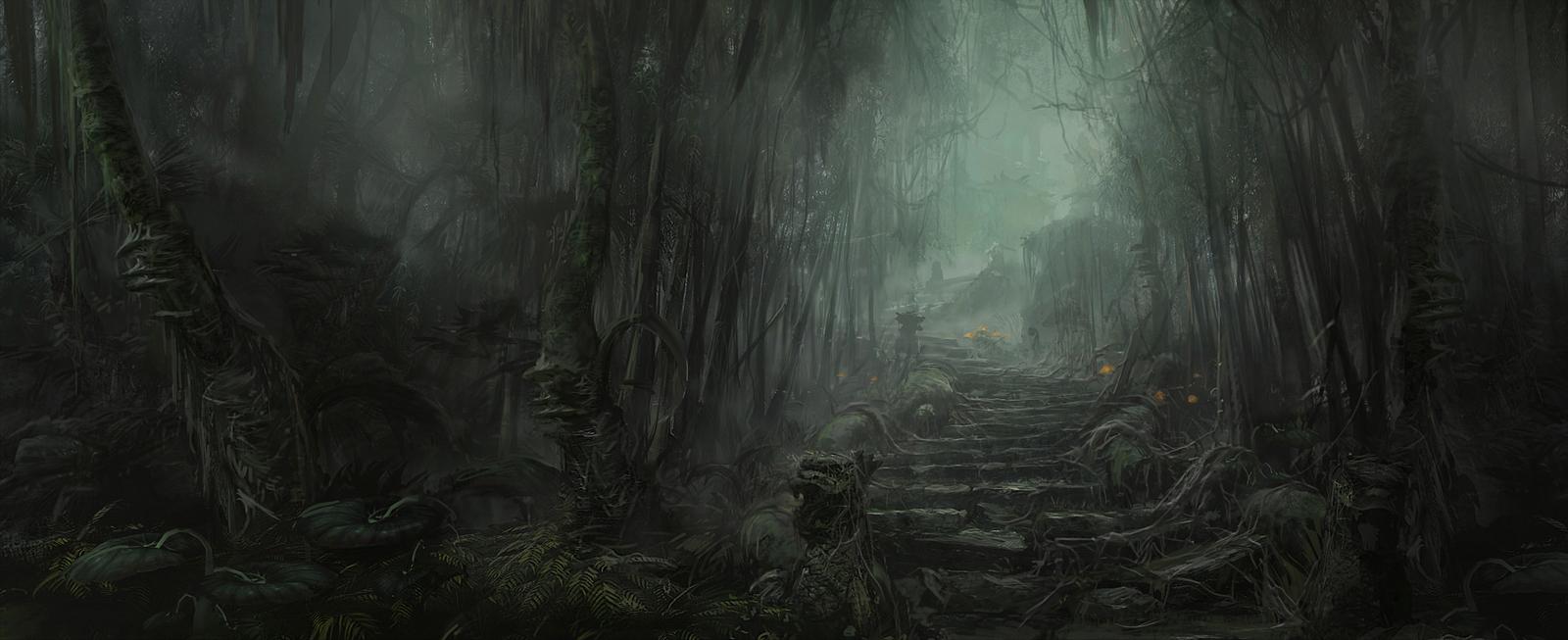 art dark car forest - photo #2